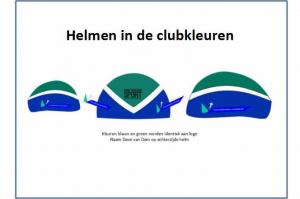 Helmen in clubkleuren