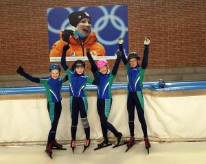 Yannick, Iris, Britt en Faye op De Scheg Deventer